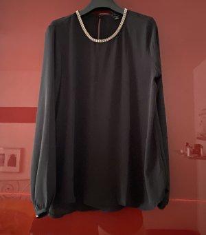 halbtransparente schwarze Bluse mit Strasssteinchen Amisu Gr. S