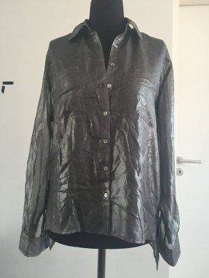 Halbtransparentes Blusenhemd im Metallic-Trend