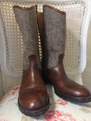 Botas estilo militar coñac-gris Cuero