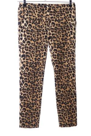 Hallhuber Pantalone a 7/8 marrone-nero motivo animale stile stravagante
