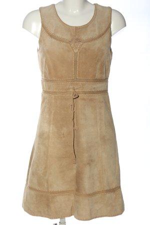 Hallhuber Leren jurk bruin casual uitstraling