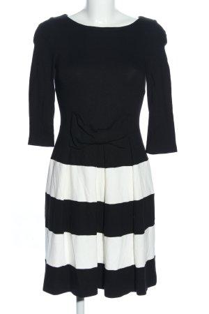 Hallhuber A-Linien Kleid schwarz-wollweiß Streifenmuster Casual-Look