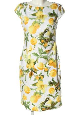 Hallhuber A-Linien Kleid Etuikleid M 38 Allover-Druck Casual-Look gelb grün weiß