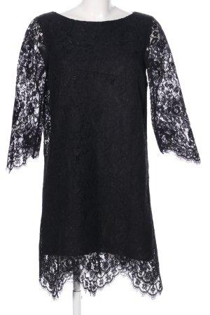 Hallhuber A-Linien Kleid schwarz Blumenmuster Elegant