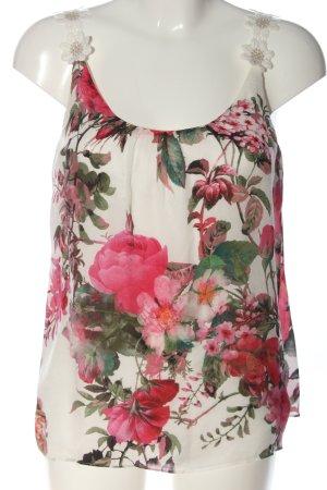 Hallhuber ärmellose Bluse weiß-pink Allover-Druck Casual-Look