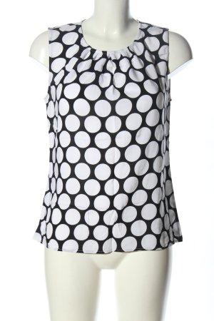 Hallhuber ärmellose Bluse schwarz-weiß Allover-Druck Casual-Look
