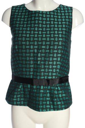 Hallhuber ärmellose Bluse khaki-schwarz Allover-Druck Casual-Look