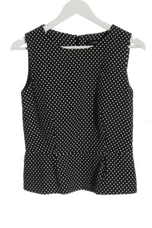 Hallhuber Blusa senza maniche nero-bianco motivo a pallini stile casual