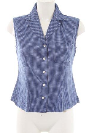 Hallhuber ärmellose Bluse blau-weiß Karomuster Business-Look
