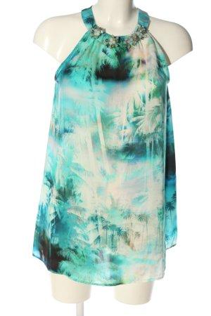 Hallhuber ärmellose Bluse türkis-wollweiß abstraktes Muster Casual-Look