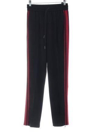 Hallhuber Pantalón abombado negro-carmín estampado a rayas estilo «business»