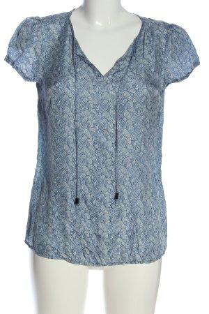 Hallhuber basic Kurzarm-Bluse weiß-blau abstraktes Muster Casual-Look