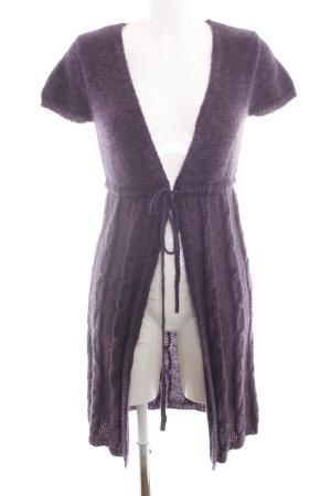 Hallhuber basic Cardigan à manches courtes violet torsades style décontracté