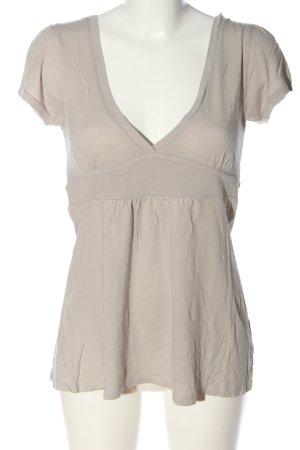 Hallhuber basic V-Ausschnitt-Shirt hellgrau Zopfmuster Casual-Look