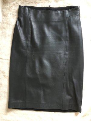 HALLHUBER Bleistiftrock, Echtleder/Textil, Gr. XS
