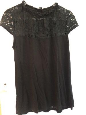 Hallhuber Blusa de encaje negro Viscosa