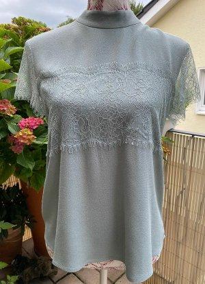 HALLHUBER → Bluse * Shirt * Spitze * salbeigrün * Gr. 38   NEUwertig