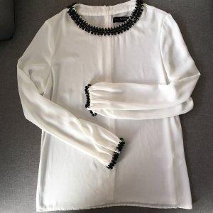 Hallhuber Bluse Shirt weiß Statementkragen Strass 36