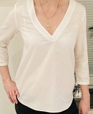 Hallhuber - Bluse weiß V- Ausschnitt
