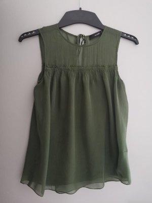Hallhuber Bluse XS 34 olive Grün Top Shirt Seide
