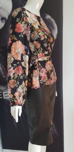 Hallhuber Blusen shirt wickeloptik und leder optik Bleistift Rock
