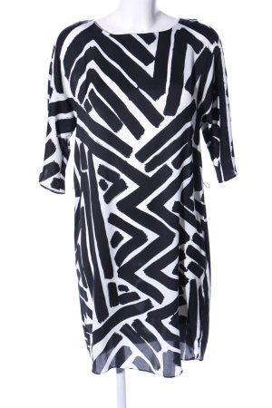 Hallhuber Blusenkleid schwarz-weiß abstraktes Muster Casual-Look