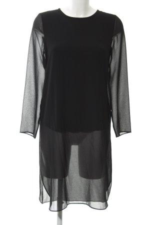 Hallhuber Blusenkleid schwarz Transparenz-Optik