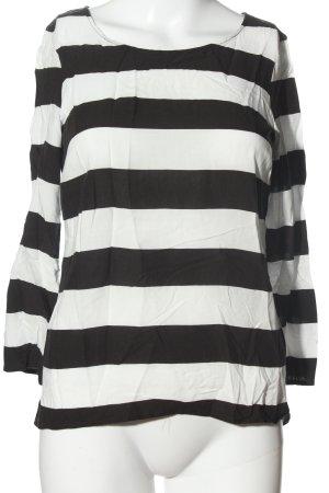 Hallhuber Blouse topje wit-zwart gestreept patroon casual uitstraling