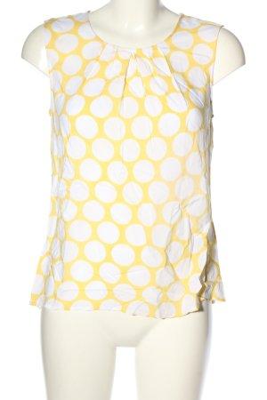 Hallhuber Blouse topje sleutelbloem-wit gestippeld patroon casual uitstraling