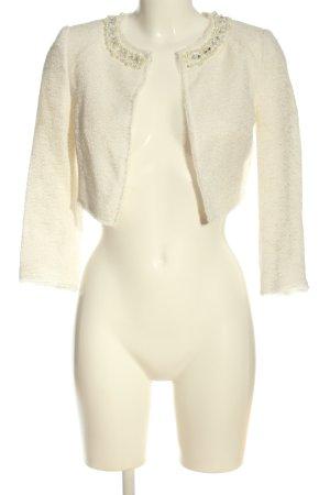 Hallhuber Bolerko biały Tkanina z mieszanych włókien