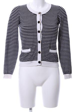Hallhuber Cardigan weiß-schwarz Streifenmuster Casual-Look