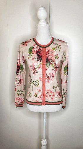 Hallhuber Cardigan S Strickjacke Blumen Blüten Blooms rosa pink grün