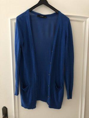 Hallhuber Cardigan Strickjacke Jacke lang in blau royalblau Größe XS