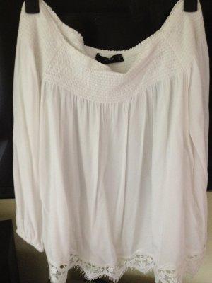 Hallhuber Bluzka typu carmen w kolorze białej wełny Wiskoza