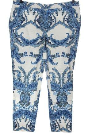 Hallhuber Chinohose weiß-blau abstraktes Muster Casual-Look