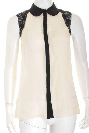 Hallhuber Donna ärmellose Bluse creme-schwarz Elegant