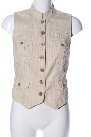 Hallhuber Donna Anzugweste wollweiß-bronzefarben Streifenmuster Casual-Look