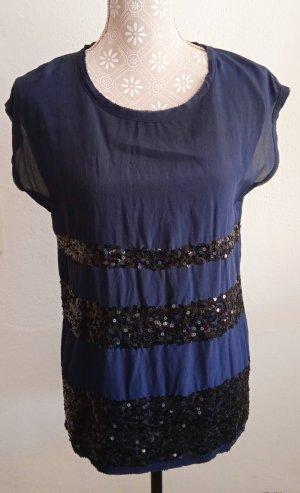 Hallhuber Donna Silk Top dark blue silk