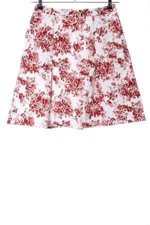 Hallhuber Donna Glockenrock weiß-rot Blumenmuster Casual-Look