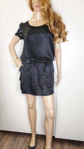 Hallhuber Donna Kleid 36 Seide schwarz Stufen