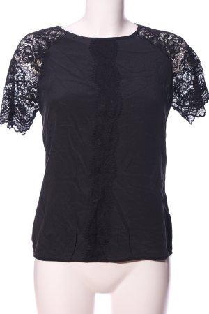 Hallhuber Donna Kurzarm-Bluse schwarz Casual-Look