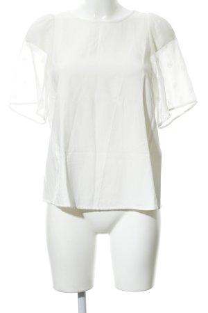 Hallhuber Donna Kurzarm-Bluse wollweiß Paillettenverzierung