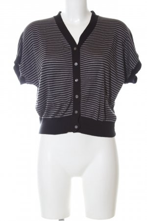 Hallhuber Donna Short Sleeve Knitted Jacket black-light grey striped pattern