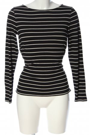Hallhuber Donna Longsleeve schwarz-weiß Streifenmuster Casual-Look