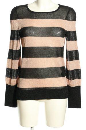 Hallhuber Donna Longsleeve schwarz-creme Streifenmuster Casual-Look