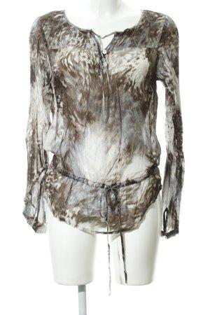 Hallhuber Donna Seidenbluse hellgrau-taupe abstraktes Muster klassischer Stil