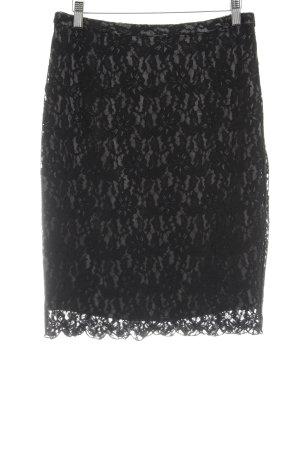 Hallhuber Donna Spitzenrock schwarz-grau Webmuster Elegant