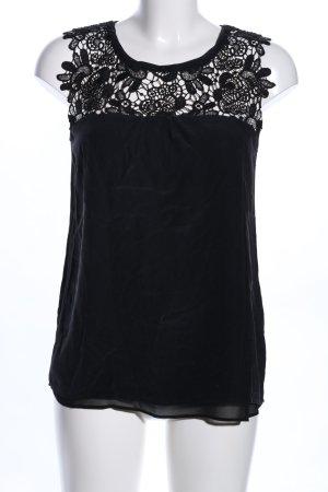 Hallhuber Donna Top di merletto nero stile casual