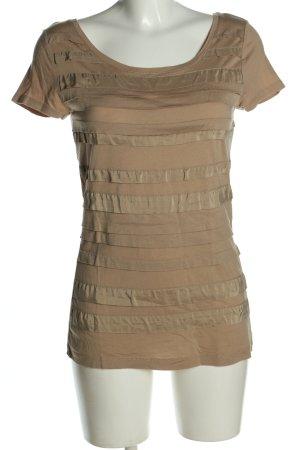 Hallhuber Donna T-Shirt braun-bronzefarben Streifenmuster Casual-Look