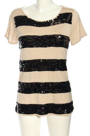 Hallhuber Donna T-Shirt nude-schwarz Streifenmuster Casual-Look